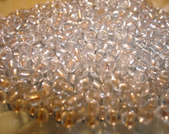 20gr 6/0 Czech Glass Seed Beads Clear Silver Lined - One Day Shipping