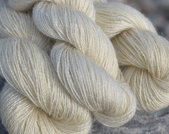 Homegrown Mill Spun Wensleydale Farm Wool Fingering Weight 2 Ply Natural White