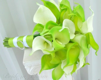 Lime green calla lily Bride Bouquet, Lime and white Wedding bouquet