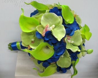 Wedding bouquet green orchids calla lily royal blue silk bridal flowers