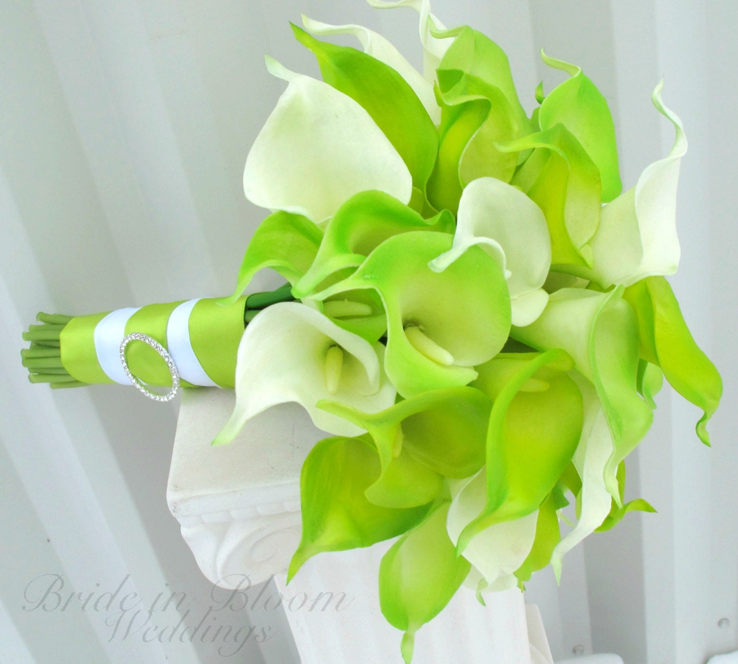 Lime Green Bridal Flowers : Lime green calla lily bride bouquet and white wedding