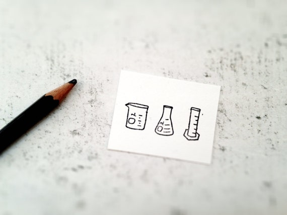 The Chemistry Lab Stamp - Beaker, Flask, and Graduated Cylinder Rubber Stamp - Science Mini Stamp