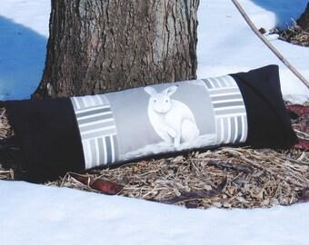 Pillow Alone On Snow Rectangular 27 x 9 Black Gray White Chic Country home decor Decorative accent Unique Rabbit Bunny Animal Farm Boudoir