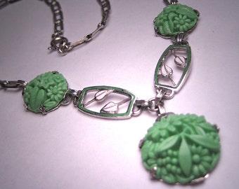Antique Jade Enamel Necklace Art Deco Vintage 1920's