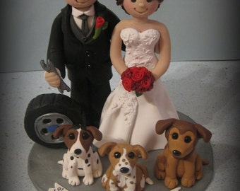 Wedding Cake Topper, Custom Cake Topper, Personalized, Polymer Clay, Chevy Tire, Wrench, Dogs, Wedding/Anniversary Keepsake