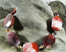 """Red purple pink Mookaite jasper bracelet 8.25"""" long semiprecious stone jewelry  in a colorful gift bag 10450"""