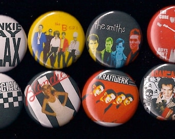 "Awesome 1980s New Wave 1"" Pins Buttons Badges Set of 8 the Cure Blondie Smiths and more Rock Punk 80s"