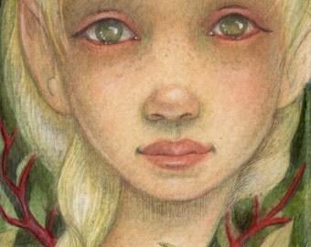 Forest Pixie....Original Mixed Media Illustration