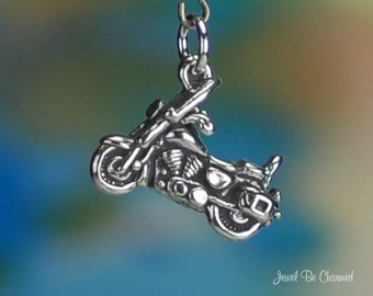 Sterling Silver 3D Motorcycle Charm Hog Motorcyclist Biker Solid .925