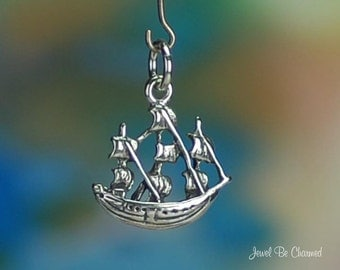 Sterling Silver Tall Ship Charm Old-Fashioned Sailing Mast Solid .925