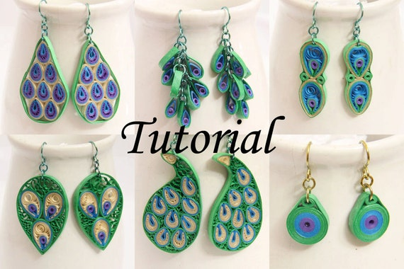 Tutorial for Paper Quilled Peacock Earrings PDF  - Peacock inspired eco friendly jewelry