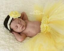 Newborn Tutu- Yellow Tutu Skirt- Baby Tutu- Infant Tutu- Newborn Tutu and Headband Set - Newborn Photo Prop Tutu- Baby Tutu