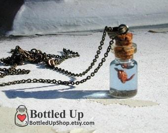 Sea Turtle in a tiny bottle necklace