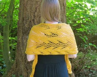 Marigold Foliage hand knit aplaca bamboo wrap