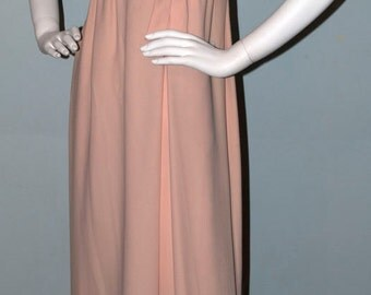 Gold Beaded Sleeveless Champagne Color Empire Waist Evening Gown, 1960s