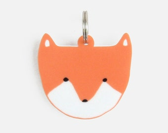 Fox Cub Keyring / Keychain - head charm laser cut acrylic decoration white bright orange mothers day birthday gift Christmas stocking filler