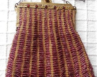 Antique Mauve Glass Bead & Crochet Purse w/ Jeweled Frame