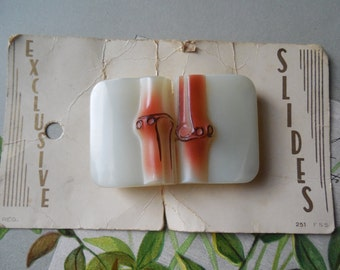 Czech Moled Glass Bamboo-Look Belt Buckle    KV12