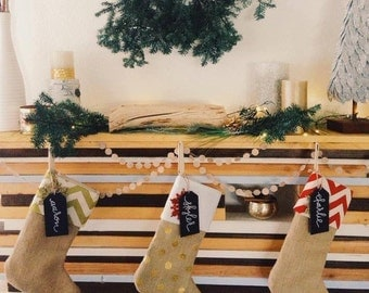 christmas stocking, burlap, chevron, rustic family matching