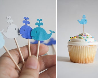 24 Whales Party  Blue & Gray Party Picks - Cupcake Toppers Baby Shower - Food Picks