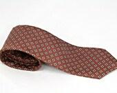 Vintage Silk Neck Tie Mens Brown Chocolate Chestnut Diamond Pattern Beige Navy Blue Neutral Earth Tones Count Barini