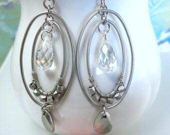 Double silver hoop Swarovski crystal oval hoop earrings, silver double hoop crystal earrings, street boho chic disco hoop earrings