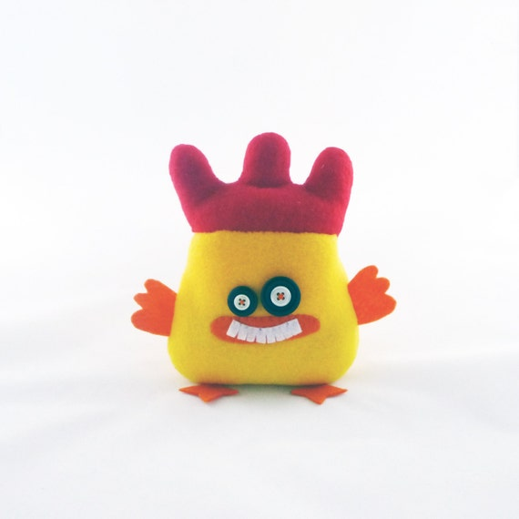Yellow Plushie, Plush toy, Plush rooster, Plush animal, Plush monster, Fabric monster, Gifts for her, Gifts for him, Handmade by Marumadrid