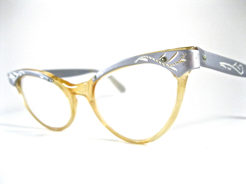 Plastic Glasses Frame Bent : silver cat eye glasses. aluminum plastic combo frames w/