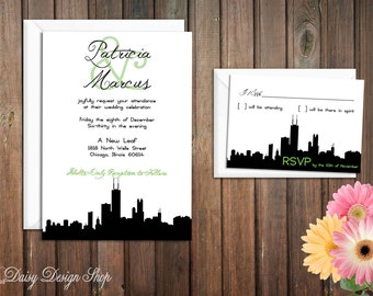 Wedding Invitation - Chicago City Silhouette - Invitation and RSVP Card with Envelopes