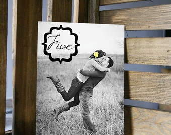 Table Number Card - Photo and Bracket Text Frame - 5x7 or 4x6 Card