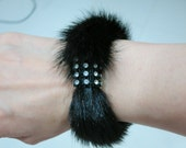 Sale Was 28 - Vintage New Never Worn FOX FUR Black Diamante Bracelet, Cuff, Hair Band - Genuine Fur - Hong Kong - Halloween, Christmas