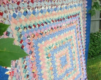 1930's 40's Vintage Twin Trip Around World Quilt Top Repurposed into New Quilt Heavily Machine Quilted
