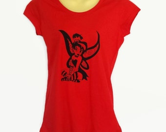 Red Punk Tinkerbell T-Shirt - screen print - ladies sizes avail