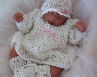 "Baby Knitting Pattern - PDF Download Knitting Pattern - Newborn Baby Girls or 19-21"" Reborn Dolls - Dress, Hat & Booties"