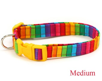 Rainbow Dog Collar - Bright Rainbow Stripes - Mini Small Medium Large XL Dog Collar