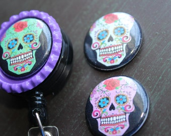 Day of the Dead Interchangeable Badge Holder Sugar Skull Badge Holder Retractable Badge Holder