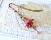 Shimmering Pink Lucite Flower Bookmark, Vintage Style Bookmark