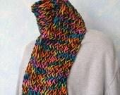 Winter scarf, handknit, black, neon, item BV4