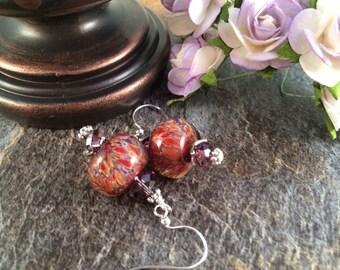 Orange Earrings, Purple Earrings, Beadwork Earrings, Red Earrings, Glass Earrings, Lampwork Bead Earrings, Lampwork Earrings, Boro Earrings