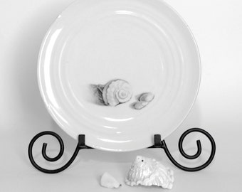 White Plate with a hand drawn Seashell, White home decor with Beach Style, Seashells