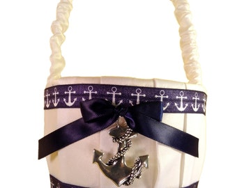 Nautical Anchor Sailor Themed Navy Blue and White Flower Girl Basket Perfect for Beach Sea Themed Weddings