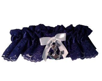 White and Navy Blue Lace Wedding Garter with Sailor Anchor Nautical Marine Boating and Sea Themed Wedding