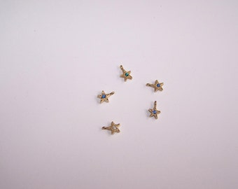 Star Charms, Birthstone Stars, 14Kt Gold Plate, Vintage Jewelry, Gift Idea, Gift 4 Her, Mothers Day Gift, Grandma Gift, Jewelry Supply