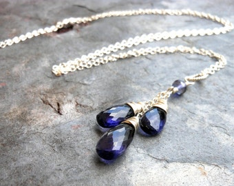 Iolite Necklace Sterling Silver Teardrop Trio Briolette Indigo Blue Gemstone Pendant Necklace