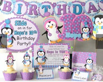 Penguin Birthday Party Supplies or Penguin Baby Shower Decorations -Party Package, Banner, Penguin Cake Topper, Cupcake Toppers