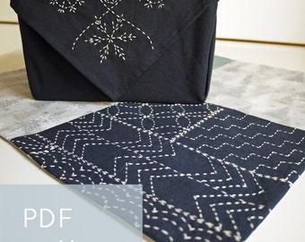 PDF sashiko pattern - - simple sampler - - modern embroidery