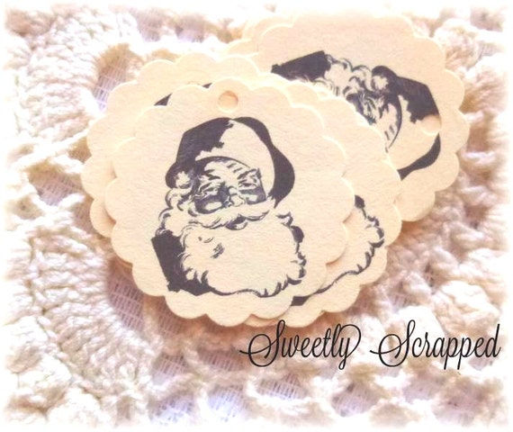 8 Santa Tags, Vintage Design, Cream and Black