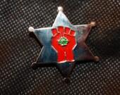 Gonzo sheriff hat pin, mescaline, molecule, hunter s thompson, gonzo journalism, hippie, grateful dead, phish, lot, music festivals