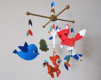 "Neutral Baby Mobile - Nursery Mobile - Jungle Crib Baby Mobile - ""Fox, deer, Hedgehog, owl, bird "" Mobile (Custom Color Available)"
