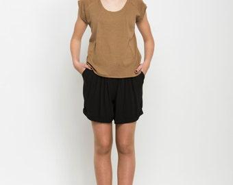 Dark cream women Tshirt ,women cream top , short sleeve t shirt, summer knitwear,loose fit shirt, summer top